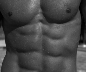 black and white, shirtless, and sexy image