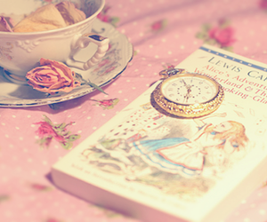 alice in wonderland, book, and tea cup image