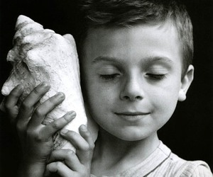 boy, black and white, and child image