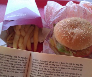 book, burger, and fatass image