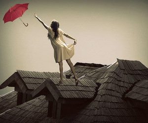 girl, roof, and umbrella image
