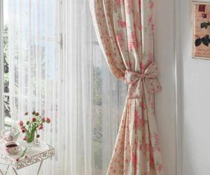curtain, floral, and pink image