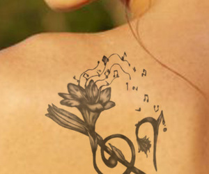 tattoo, music, and flowers image