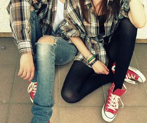 couple, converse, and boy image