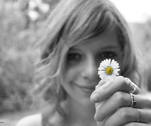 black and white, bokeh, and daisy image