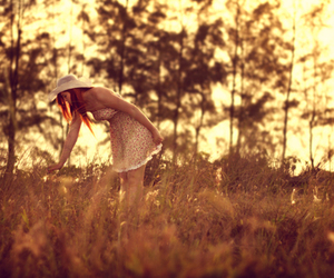 field, girl, and photography image