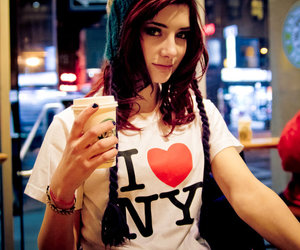 girl, ny, and coffee image
