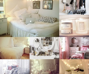 bed, bedroom, and Collage image
