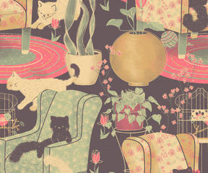 cat, background, and pattern image