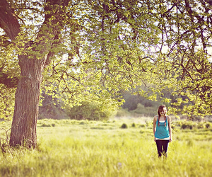 girl, tree, and summer image