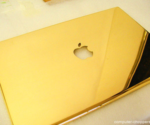 gold, apple, and macbook image