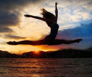 dance, sunset, and beach image