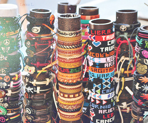 bracelets, peace, and style image