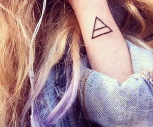 tattoo, triangle, and hair image