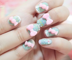 nails, cute, and bow image