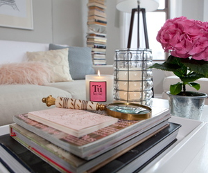 room, flowers, and candle image