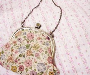 floral, purse, and vintage image