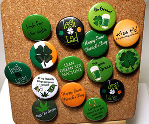 badge, buttons, and clover image