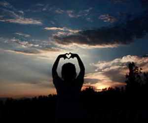 heart, sky, and sunset image