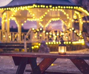 bench, christmas lights, and lamp image