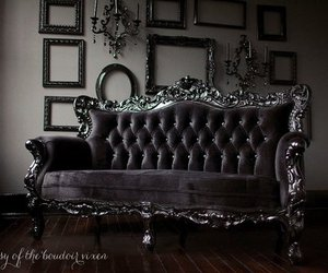 sofa, dark, and goth image
