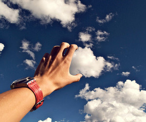 clouds, sky, and hand image