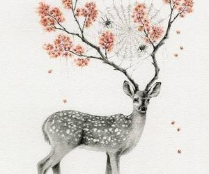 flowers, deer, and art image