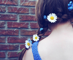 blue, braid, and flowers image