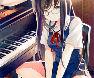 anime, anime girl, and piano image