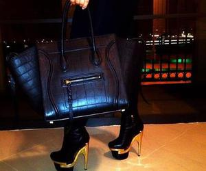 bag, high heel, and black image