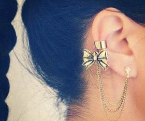 earrings, bow, and gold image