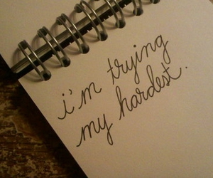 handwriting, notebook, and try image