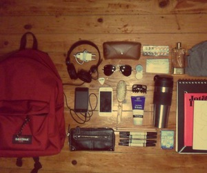 backpack, bag, and sunglasses image