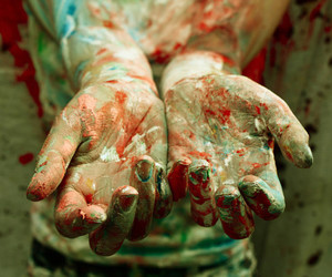artist, hands, and paint image