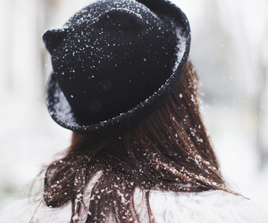 hat, girl, and snow image