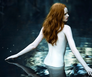 Nude, red hair, and water image