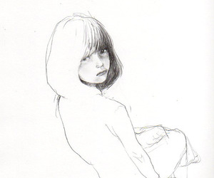 black and white, girl, and illustration image