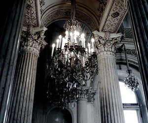 chandelier, architecture, and dark image