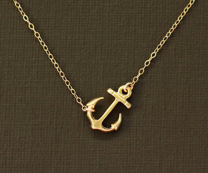anchor, necklace, and gold image
