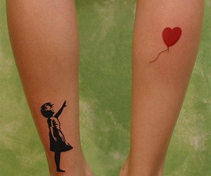 tattoo, balloon, and heart image