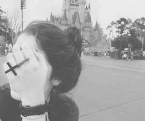 girl, black and white, and disney image