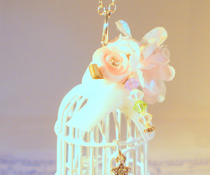 birdcage, flowers, and etsy image