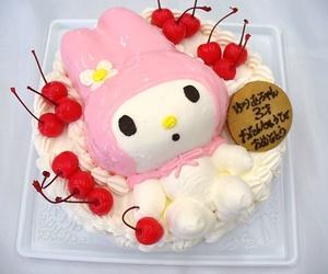 birthday cake, cake, and cherries image