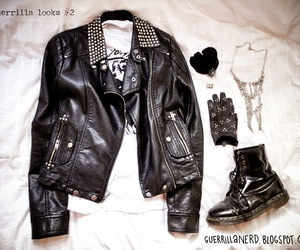 biker jacket, dr martens, and leather image