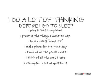 sleep, quotes, and thinking image