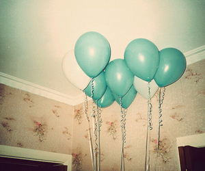 balloons, blue, and vintage image