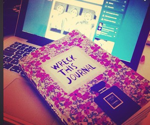 apple, wreck this journal, and flowers image