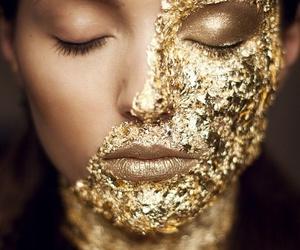 gold, makeup, and face image