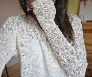 girl, white, and sweater image