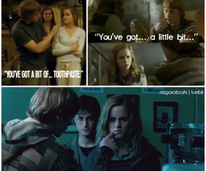 deathly hallows, hermione granger, and ron weasley image